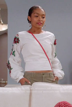 Zoey's white top with floral embroidered sleeves on Black-ish