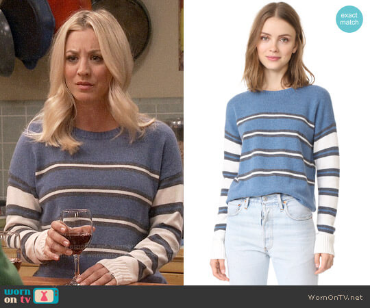 Derek Lam 10 Crosby Striped Crew Neck Sweater worn by Penny Hofstadter (Kaley Cuoco) on The Big Bang Theory