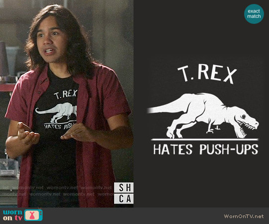 6 Dollar Shirts T. Rex Hates Push Ups T-shirt worn by Cisco on Supergirl