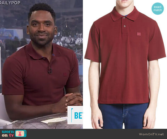 Newark Face Patch Polo by Acne Studios worn by Justin Sylvester  on E! News