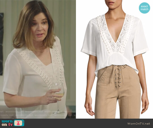 Annora Lace-Up Silk Top by ALC worn by Betsy Brandt on Life in Pieces