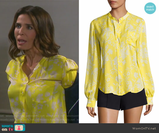 Walter Floral-Print Silk Blouse by ALC worn by Hope Williams (Kristian Alfonso) on Days of our Lives