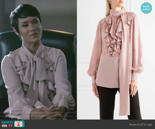 Pussy-bow ruffled silk-georgette blouse by Alexander McQueen worn by Anika Calhoun (Grace Gealey) on Empire