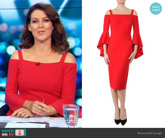 Tulip Red Crepe Dress by Anthea Crawford worn by Gorgi Coghlan on The Project