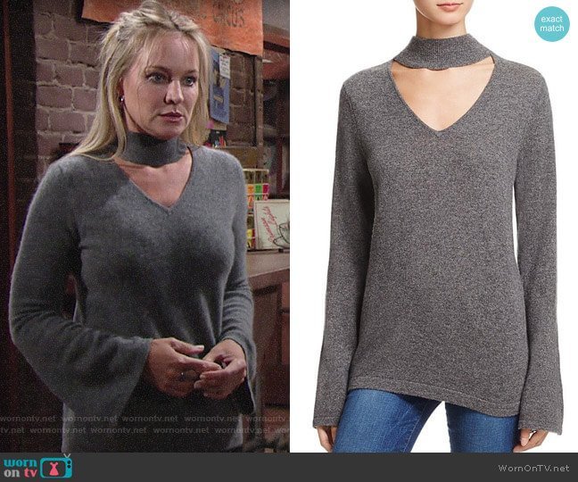 Aqua Cashmere Cutout Bell Sleeve Sweater worn by Sharon Collins (Sharon Case) on The Young & the Restless