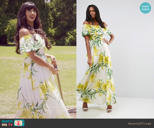 ASOS Floral Bardot Maxi Dress worn by Jameela Jamil on The Good Place