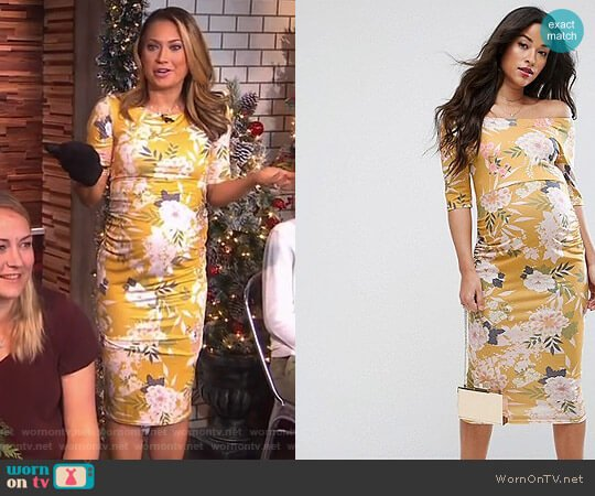 70591940131 Bardot Dress with Half Sleeve by ASOS worn by Ginger Zee (Ginger Zee) on
