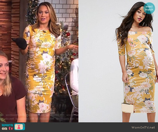 Bardot Dress with Half Sleeve by ASOS worn by Ginger Zee (Ginger Zee) on Good Morning America