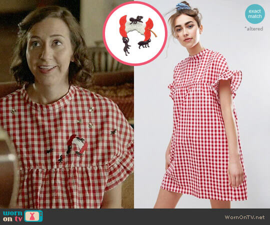 ASOS Red Gingham Smock Dress worn by Kristen Schaal on Last Man On Earth