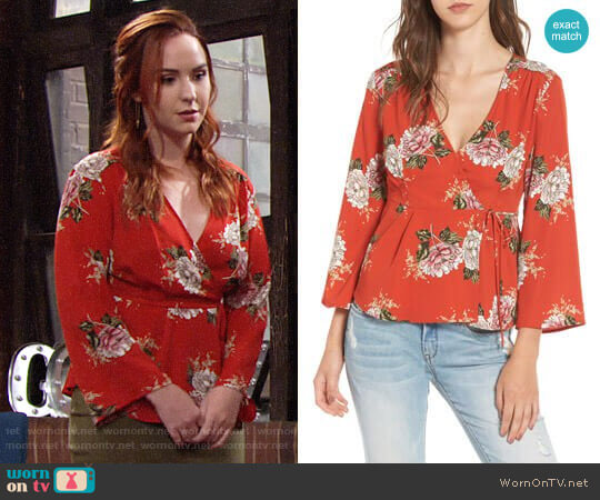 ASTR Floral Wrap Top worn by Mariah Copeland (Camryn Grimes) on The Young & the Restless
