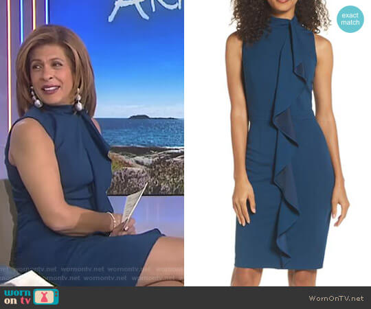 Ruffle Sheath Dress by Adrianna Papell worn by Hoda Kotb on Today