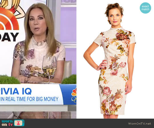 Short Sleeve Floral Print Sheath Dress with Mock Neck by Adrianna Papell worn by Kathie Lee Gifford on Today