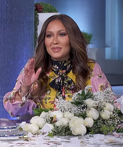 Adrienne's floral tie neck dress on The Real