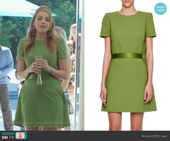 Cape-Back Short-Sleeve Minidress by Alexander McQueen worn by Fallon Carrington (Elizabeth Gillies) on Dynasty