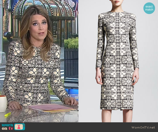Stained Glass Sheath Dress by Alexander McQueen worn by Savannah Guthrie  on Today
