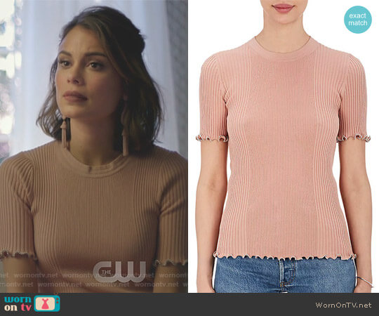 Embellished Cotton Rib-Knit Top by Alexander Wang worn by Nathalie Kelley on Dynasty