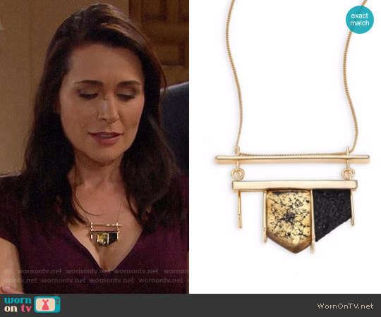 Alexis Bittar Crystal-Encrusted Lucite Pendant Necklace worn by Rena Sofer on The Bold & the Beautiful