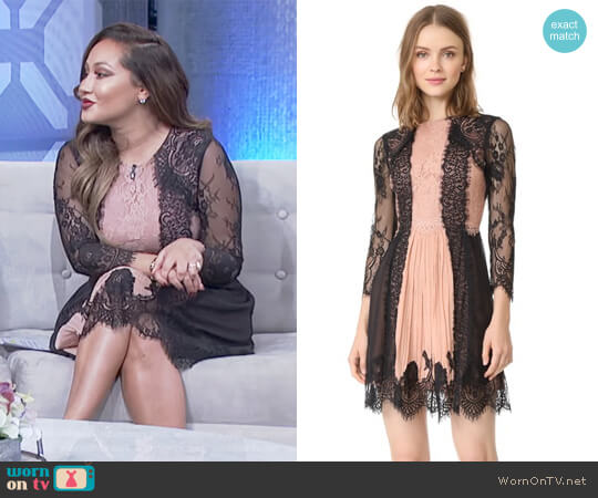 Kaylen Lace 3/4 Sleeve Dress by Alice + Olivia worn by Adrienne Houghton (Adrienne Houghton) on The Real