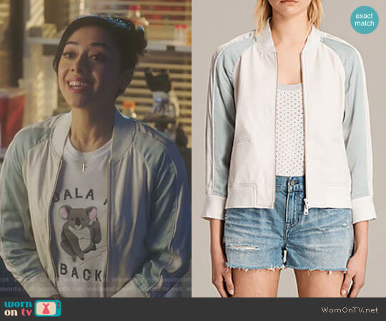 Varley Leather Bomber Jacket by All Saints worn by Ella Lopez (Aimee Garcia) on Lucifer