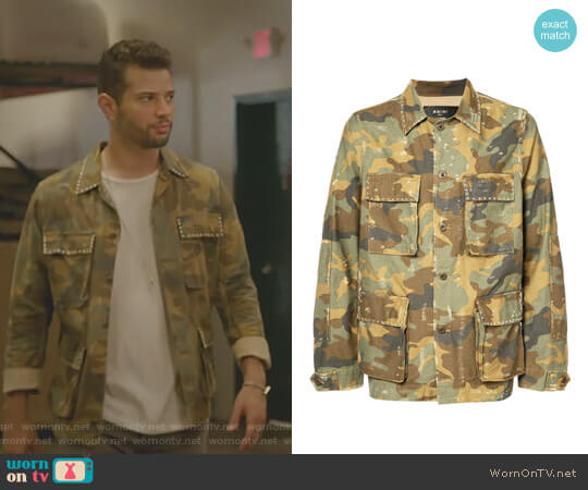 Military Shirt Jacket by Amiri worn by Sam Flores (Rafael de la Fuente) on Dynasty