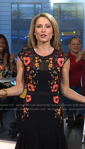 Amy's black floral lace dress on Good Morning America