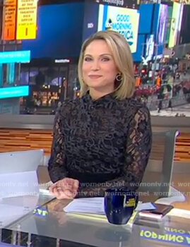 Amy's black floral lace top on Good Morning America