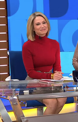 Amy's red turtleneck top and plaid skirt on Good Morning America
