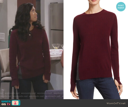 Cashmere Side-Zip Contrast-Inset Sweater worn by Eve Roberts (Liza Lapira) on 9JKL