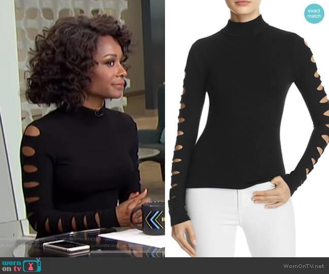 Cutout-Sleeve Sweater by Aqua worn by Zuri Hall (Zuri Hall) on E! News