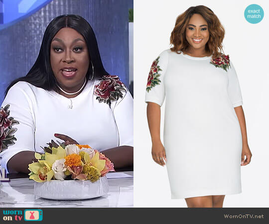 Floral Embroidered Applique Sweatshirt Dress by Ashley Stewart worn by Loni Love on The Real