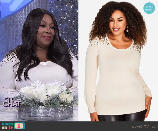 Sequin Sweater by Ashley Stewart worn by Loni Love on The Real