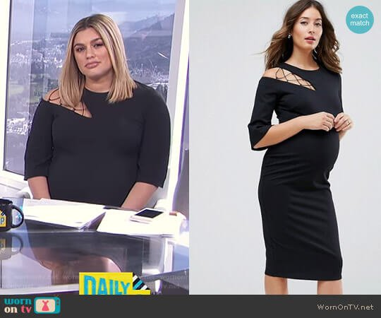 Maternity Fluted Sleeve Shift Dress with Ladder Detail by Asos worn by Carissa Loethen Culiner on E! News