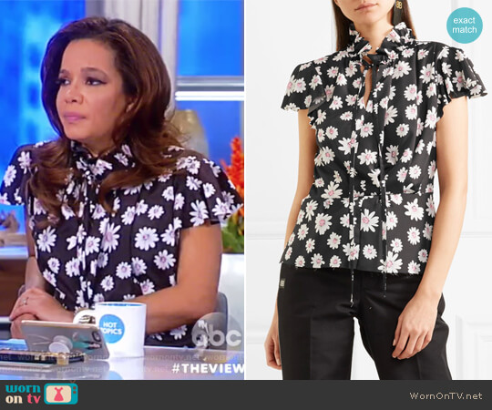 Floral-print satin top by Balenciaga worn by Sunny Hostin on The View