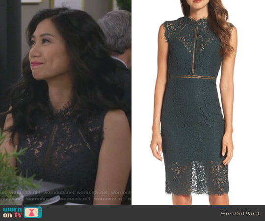4e02f00a7802 Lace Sheath Dress by Bardot worn by Eve Roberts (Liza Lapira) on 9JKL