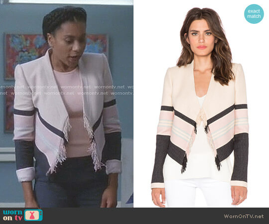 Walker Jacket by Bcbgmaxazria worn by Kelly McCreary on Greys Anatomy