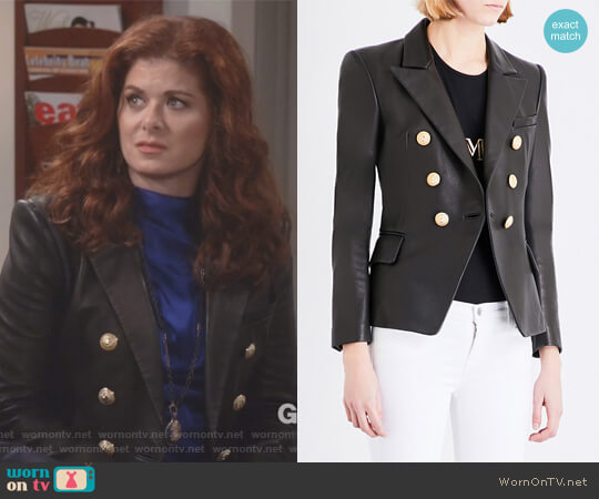 Double-breasted leather suit jacket by Balmain worn by Debra Messing on Will & Grace