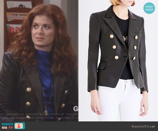 Double-breasted leather suit jacket by Balmain worn by Grace Adler (Debra Messing) on Will & Grace