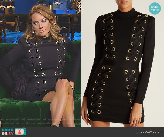 High-Neck Lace-Up Mini Dress by Balmain worn by Cary Deuber on The Real Housewives of Dallas