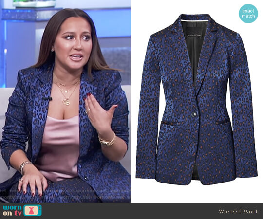 Boyfriend-Fit Leopard-Print Blazer by Banana Republic worn by Adrienne Houghton on The Real