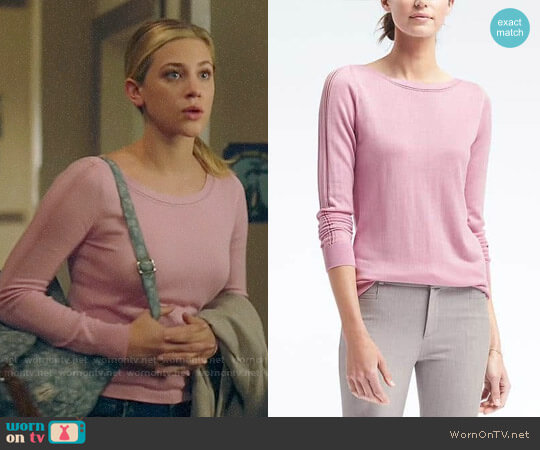 Banana Republic Silk Cotton Boat-Neck Top  worn by Lili Reinhart on Riverdale