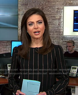 Bianna's black and gold pinstripe top on CBS This Morning
