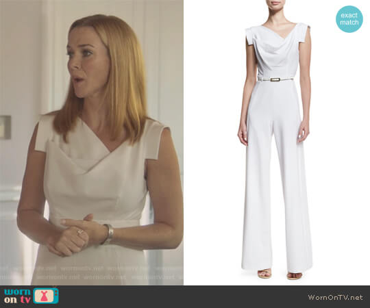 Jackie Cap-Sleeve Belted Wide-Leg Jumpsuit by Black Halo worn by Annie Wersching on Marvels Runaways