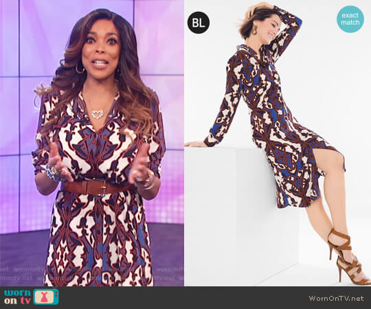 Printed Shirt Dress by Chicos worn by Wendy Williams on The Wendy Williams Show