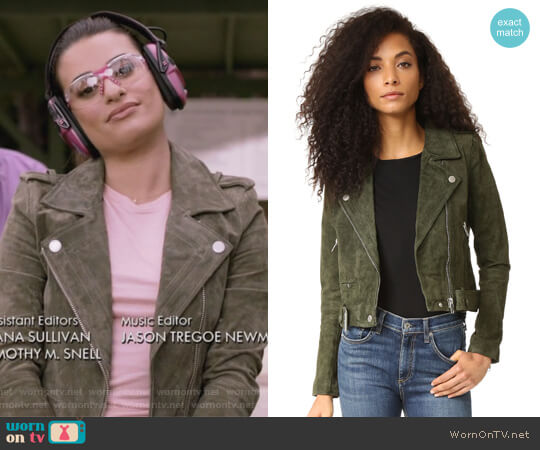 Genuine Suede Moto Jacket by Blank Denim worn by Valentina Barella (Lea Michele) on The Mayor