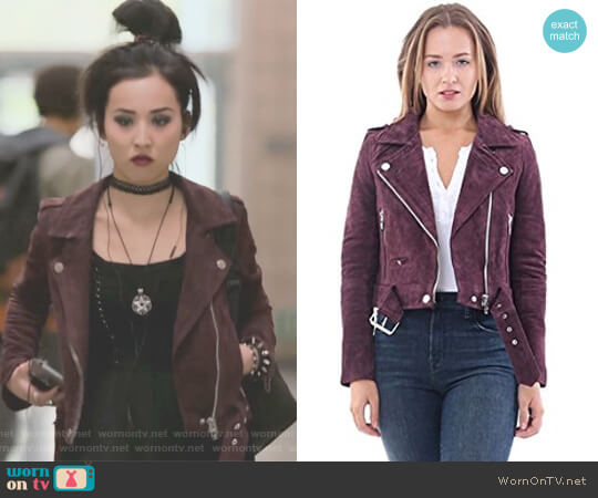 Burgundy Suede Moto Jacket in Morning After by Blank NYC worn by Nico Minoru (Lyrica Okano) on Marvels Runaways