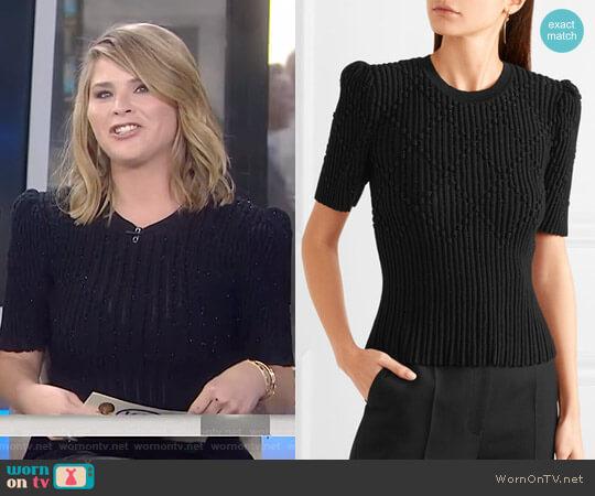 Metallic Ribbed Sweater by Bottega Veneta worn by Jenna Bush Hager  on Today