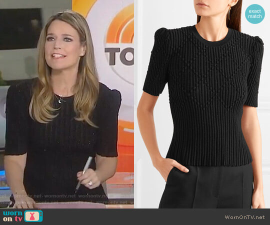 Metallic Ribbed Sweater by Bottega Veneta worn by Savannah Guthrie on Today