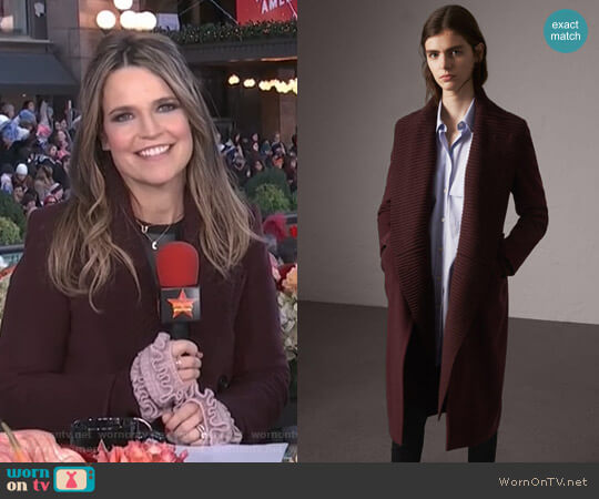 Detachable Rib Knit Collar Cashmere Coat by Burberry worn by Savannah Guthrie (Savannah Guthrie) on Today