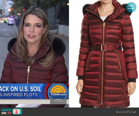 Limefield Fur Trim Hooded Puffer Coat by Burberry worn by Savannah Guthrie (Savannah Guthrie) on Today