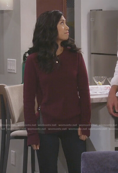 Eve's burgundy side zipper sweater on 9JKL